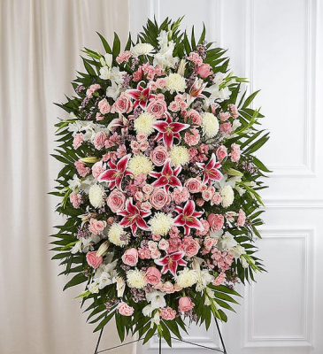 Pink & White Funeral Standing Spray