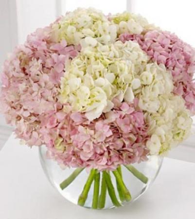 Pink & White Hydrangeas  Bubble Bowl