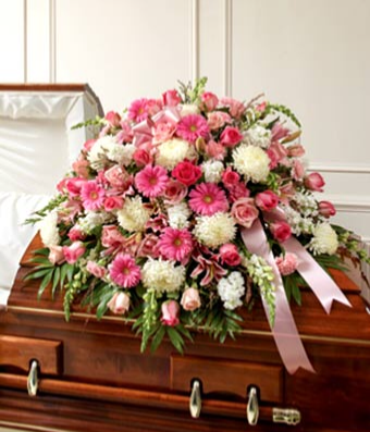 Pink & White Mixed Half Casket Cover