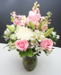 Pink & White Passion  Roses, Lilies, Snapdragons & Mums