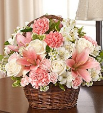 Pink & White Peace Prayers Blessings Basket Arrangement