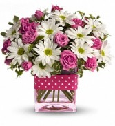 PINK & WHITE POLKA DOTS CUBE ARRANGEMENT