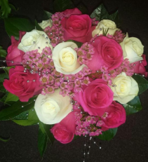 Pink & White Rose Bridal Bouquet