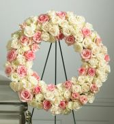 Pink & White Rose Wreath SY129
