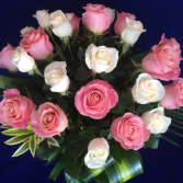 Pink & White Roses Vase arrangement