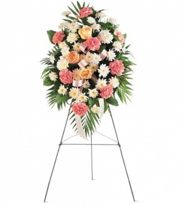 Pink & White Spray Funeral Spray