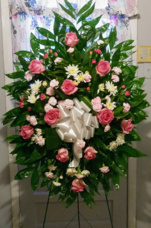 Pink & White Standing Spray Sympathy Flowers