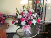 Pink White Sympathy Basket Sympathy Arrangement