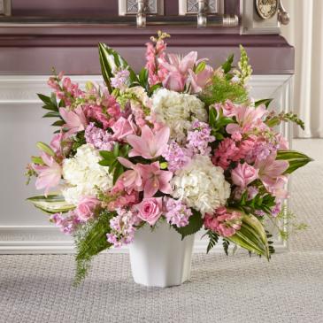 Pink & White Sympathy Floor Basket