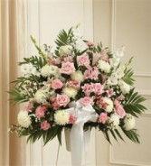 Pink & White Sympathy Standing Basket Funeral