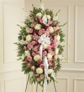 Pink & White Sympathy Standing Spray Funeral