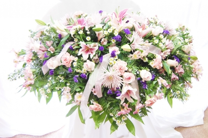 Pink & White Tribute Casket Spray Funeral Flowers