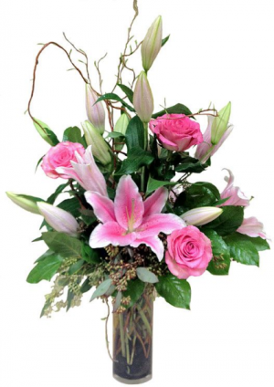 pink willow vase arrangement in Lebanon, NH | LEBANON GARDEN OF EDEN FLORAL SHOP