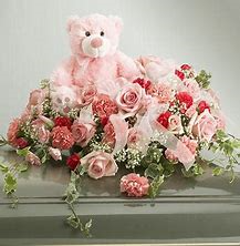 pink with teddy bear half casket piece for baby funeral