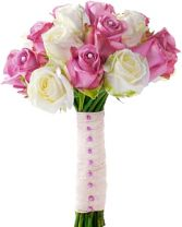 PINK & WHITE ROSES     BRIDAL BOUQUET