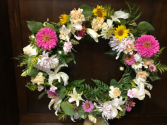 Pink & Yellow Picture Wreath Sympathy Flowers