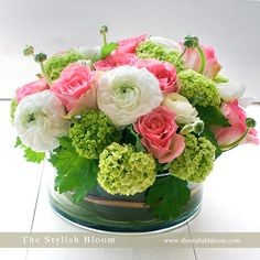 Pink,Green & White Table Arrangement