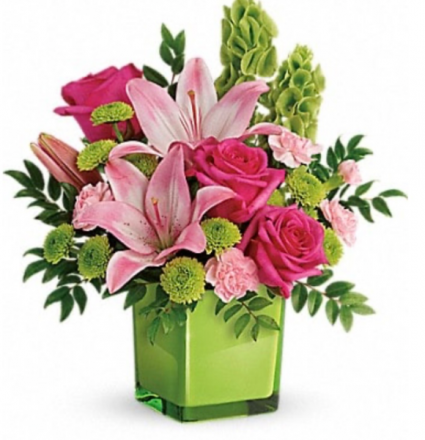 Pinks and Green Fun cube vase Vase