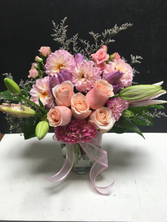 Pretty in Pink and Purple An artistically-designed, pink and purple bouquet by VFS