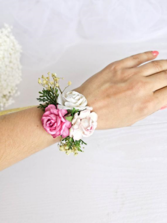 Pinks and Whites Wrist Corsage
