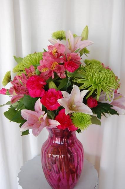 Pink green serene fresh arrangement in jacksonville fl