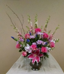 Pinks in Bloom Urn Arrangement - AWF1008