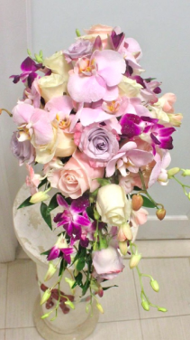 Pinks, Lavenders and Whites Cascade Bridal Bouquet