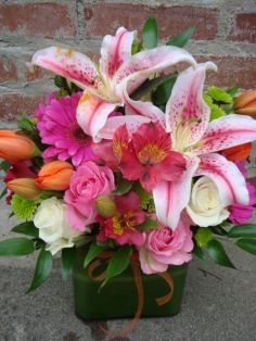 PINKS & ORANGES Square Block Arrangement in Nashville, TN | BLOOM FLOWERS & GIFTS