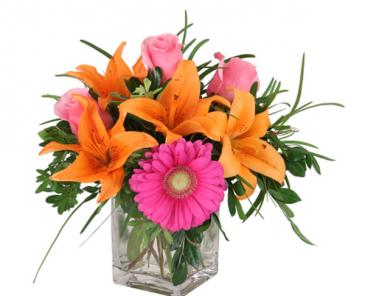 Pinks & Oranges blossoms  Vase