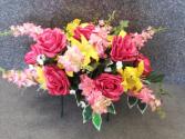 Pinks & Yellows Silk Headstone Saddle