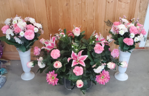 Pink/White Mixed Saddle or Basket Set artificial in Shipman, IL | B & B FLORAL -N- GIFTS