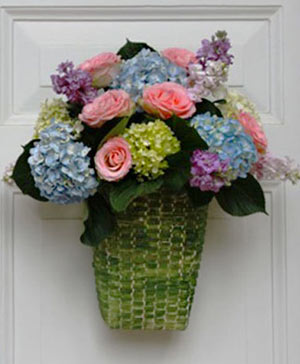 Pinky Blue Hydrangea Hanging Arrangement in Ozone Park, NY | Heavenly Florist