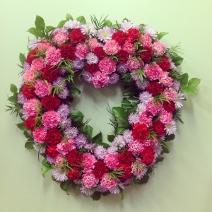 Pinky Heart Wreath  Funeral Flowers