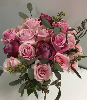 Pinky Different shades of pink roses with seeded eucalyptus in Brooklyn, NY | Hibiscus Flowershop