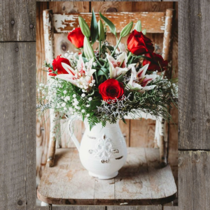 Pitcher Full of Roses and Lilies Fresh in Paris, KY | Chasing Lilies Floral