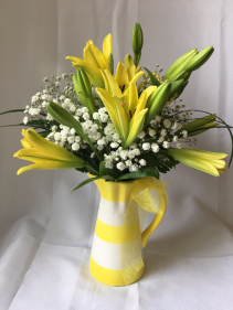 Pitcher Of Lilies Arrangement