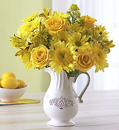 Pitcher of Sunshine Cheerful Blooms, Keepsake Pitcher in Gainesville, FL | PRANGE'S FLORIST