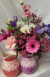 Pitcher with Lace Bouquet...seasonal flowers arran In ceramic pitcher. (Pitcher may be lavender or pink)