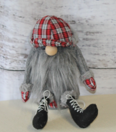 Plaid Hat Santa with grey beard