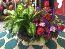 Plant and fresh flower arrangement Double Basket