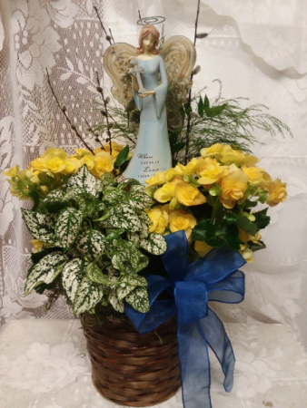 plant basket with angel