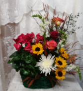 plant basket with sunflowers
