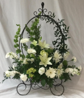 Plant Stand Arrangement with Wind Chimes Shop Exclusive.  Other Colors Available