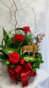 Planter with a deer  in Clio, MI | WILLOW COTTAGE FLOWERS AND GIFTS