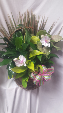 Planter with cut flowers