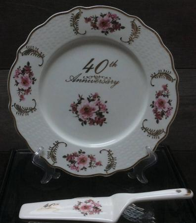 Plate & Server bone china 25th,40th or 50th Anniversary