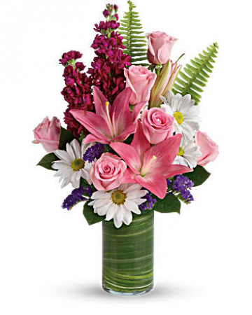 Playful Daisies vase arrangement/ one sided