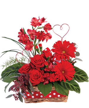 Playful Heart Basket Floral Arrangement in Worthington, OH | UP-TOWNE FLOWERS & GIFT SHOPPE