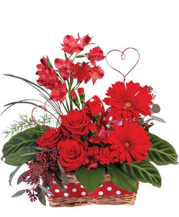 Playful Heart Basket Floral Arrangement