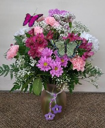 Playful Pink Butterflies  Vase Arrangement